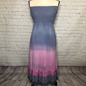 Free People grey/pnk ombré boho tube top maxi dres